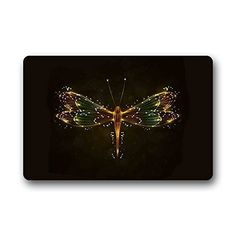 AfagaS Door Mat Shine DragonFly Background In DarkRectangle Front Door Mat Large Outdoor Indoor Entrance Doormat Durable Rug Size: Inches >>> Be sure to check out this awesome product. (This is an affiliate link)