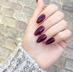Oval Acrylic Nails - Dark Berry Color