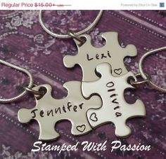 Spring Sale Puzzle Piece Necklace Set Hand by StampedWithPassion