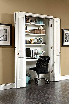 Tan and White Home Office In A Closet Idea