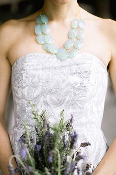 statement necklace | See more on http://mountainsidebride.com/2014/01/rustic-elegant-cashiers-nc-wedding/