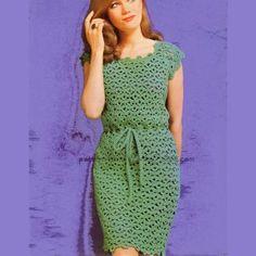 WonkyZebra 411 Crochet Sheath Dress 3018 - Vintage dress pattern