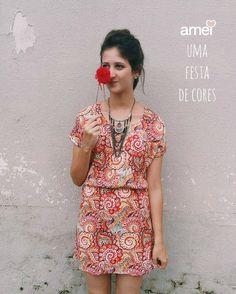Alegria  #lojaamei #vestido #cor #leve #laranja