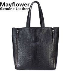 New 2014 large snake print women's genuine leather totes designs shoulder bags purse shopping bag women handbags, Free Shipping $62.00