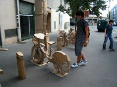 Benedetto Bufalino's cardboard bike station in Lyon (France)