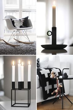 via trendenser; eames rocker, pia wallen blanket kay bojesen monkey, hay table, by lassen candle holder House Design Photos, Home Design, Modern Interior Design, Interior And Exterior, Eames Rocker, All White Bedroom, Black And White Interior, Black White, Design Bestseller