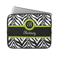 Zebra Stripes and Lime Green Lace Monogram Laptop Computer Sleeves