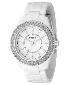 Fossil Watch, Women's White Resin Strap 40mm ES2444 - Women's Watches - Jewelry & Watches - Macy's $85