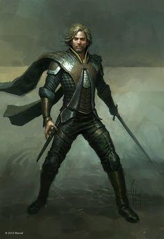 swordman, fine warrior, sellsword, good concept art, rpg, D&D, fantasy. Artwork by Charlie Wen
