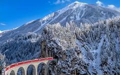 railroad, train, the Landwasser viaduct, ate, mountains, winter, the Canton of Grisons, snow, Alps, Switzerland