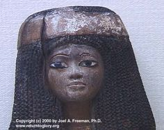 Close up of a Lady, a face that would be familiar in Senegal, among the Wolof. She has a braided hair diadem, the rest of the hairdo consists of wavy locks. 18th dynasty.