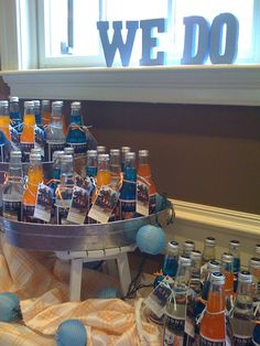 """Jones soda - with a tag """"thank you for coming to my shower, from the future Mrs. Jones""""  cute favor"""