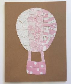 Handmade Pink Hot Air Balloon Mosaic Greeting Card.  Love this for a baby shower or girls' birthday! ❤️