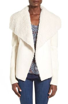 Coffee Shop Faux Shearling Lined Open Front Coat available at #Nordstrom
