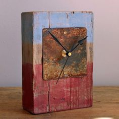Mantel Clock Red and Blue Painted Driftwood and Beach Metal by Reclaimed Time £39.99
