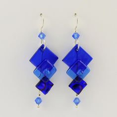 Cobalt Fused Glass 3 Graduated Squares Earrings