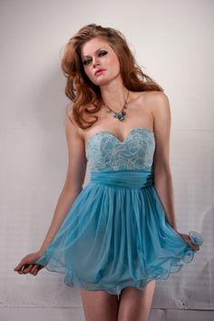 Princess pale blue Babydoll dress, featuring lace top, chiffon waist belt and chiffon overlay skirt