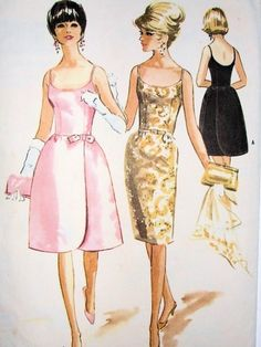 This showcases the evening dress that women wore during the This included a low bodice that was slimming around the waist and had a bell-shaped bottom of the dress. This particular image showcases the classic Audrey styled cocktail party dress. Evening Dress Patterns, Vintage Dress Patterns, Clothing Patterns, 60s Patterns, Old Dresses, Vintage Dresses, Vintage Outfits, 1960s Fashion, Vintage Fashion