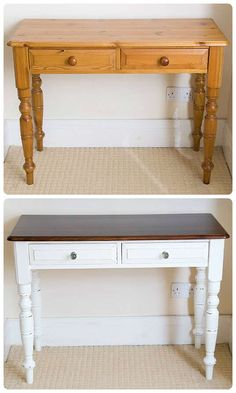 Merveilleux I Primed The Drawers And Legs And Painted Them With Four Coats Of Off White  Satin Paint And Lightly Distressed Them With Sandpaper And Stained The Top  With ...