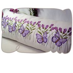 Lavender and Butterfly Pillow Machine Embroidery design
