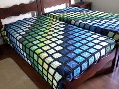 Beautiful variegated crocheted blankets