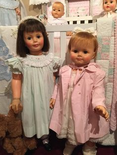 "Pictured here are Patti play pal and 32"" saucy walker, both dolls are made by ideal"