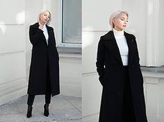 MONIKA S - Romwe Turtleneck Sweater, Long Woolen Winter Coat, High Waisted Classy Pants, Stiletto Suede High Heels - SAVE A PRAYER