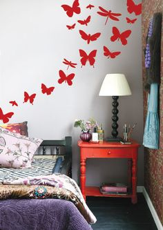 Butterflies Wall Mural and Lamp