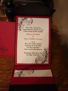 Wedding, White, Red, Invitations, Black; Our colors and everything!! Gorgeous!