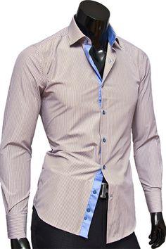 Купить Стильная приталенная мужская рубашка с длинными рукавами недорого в Москве