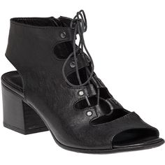 275 CENTRAL 1072 Lace Up Black Leather Sandal ($275) ❤ liked on Polyvore featuring shoes, sandals, heels, boots, footwear, black leather, black sandals, leather sole shoes, black leather shoes and black mid heel sandals