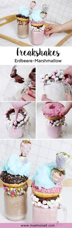Make freak shakes yourself: 2 simple DIY recipes! - Make freak shakes yourself: 2 simple DIY milkshake recipes! Sweet Recipes, Snack Recipes, Dessert Recipes, Birthday Desserts, Fun Desserts, Crazy Shakes, Milk Shakes, Diy Food, Love Food