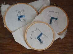 animals in scarves embroidery