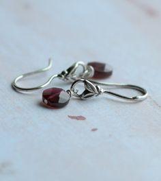 Currant /garnet& sterling earrings $26 My birth stone