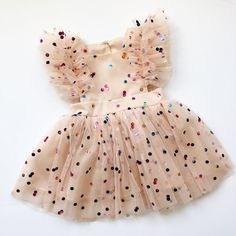 Sadie Then Ty — the tiffany pinafore rainbow confetti dot {sepia tulle} Baby Girl Dress Patterns, Dresses Kids Girl, Toddler Girl Outfits, Baby Dress, Kids Outfits, Baby Girl Fashion, Kids Fashion, Baby Frocks Designs, Kid Styles