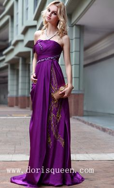 Simple Style Elegant Purple Evening Gowns
