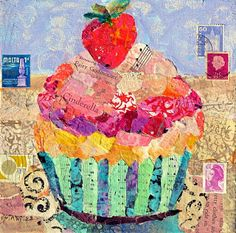 Nancy Standlee Art Blog: Cinderella's Cupcake 12089, a torn painted paper collage painting and Published in Painting with Mixed Media by Texas Artist Nancy Standlee