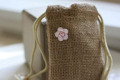 jute burlap gift bags SmALL PoWdeR PinK flower by papermoonbyKAT, $6.25