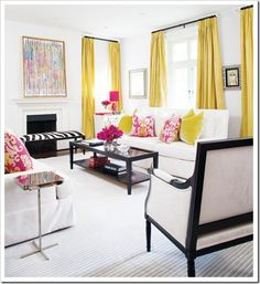 Yellow Curtains, Contemporary, living room, Style at Home Elegant Living Room, My Living Room, Home And Living, Living Room Decor, Living Spaces, Clean Living, Small Living, Design Salon, Deco Design