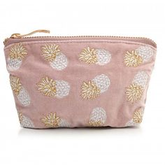 This pretty Elizabeth Scarlett Ananas Mauve Velvet Mini Pouch Coin Purse is perfect for keys, loose change or those essential bits of makeup. Made from beautiful soft pink coloured velvet, it has PU waterproof lining, gold zip and is adorned with embro Cute Coin Purse, Hand Illustration, Wash Bags, Clutch Bag, Mauve, Saint Tropez, Coins, Pouch, Velvet