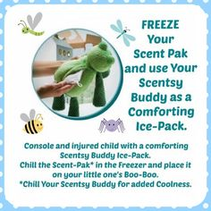 Freeze your Scent Pak and put it in your Scentsy Buddy for boo boos.