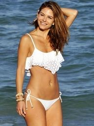 I love white bathing suits! Especially this one because of the eyelet design on the top