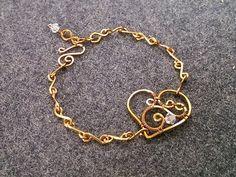 Heart bracelet - How to make wire jewelery 175 - YouTube