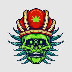 King red crown angry skull weed leaves | Premium Vector #Freepik #vector #leaf #crown #skull #royal Green Leaf Background, Background Patterns, Trippy Pictures, Purple Backgrounds, Cartoon Styles, Leaf Design, Sticker Design, Weed Leaves