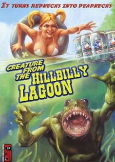 Creature From the Hillbilly Lagoon 1980s Horror Movies, Classic Horror Movies, Horror Films, Classic Films, Science Fiction Art, Pulp Fiction, Sience Fiction, Stoner Art, Cool Monsters