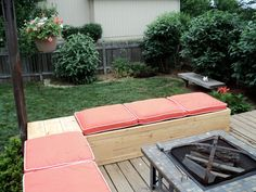 Then we decided how to utilize these pallets into simple DIY pallet lawn furniture project. So we decided to make pallet lawn furniture set that includes pallet lawn chair, pallet lawn sofa and pallet lawn table Outdoor Pallet Seating, Deck Seating, Fire Pit Seating, Outdoor Decor, Outdoor Sectional, Pallet Bench, Outdoor Living, Pallet Sectional, Garden Seating