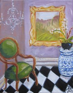 Original oil painting:   The black and white floor interior painting