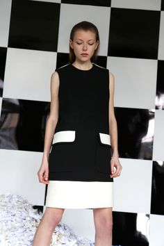 Edeline Lee | Fall 2016 Ready-to-Wear | 16 Monochrome sleeveless mini dress with twin pockets