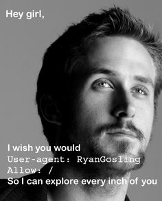 Hey girl, I wish you would User-agent: RyanGosling Allow: / So I can explore every inch of you http://www.robotstxt.org/
