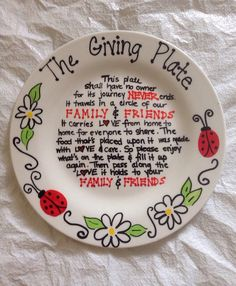 The Giving Plate Painted Ceramic Plate. This is adorable! I want this.